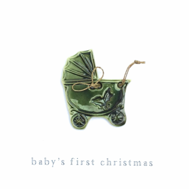 Festive forest green baby carriage button stamped with holly and tied with natural linen thread.